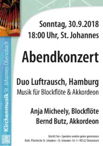 Konzert für Blockflöte und Akkordeon: Duo »Luftrausch«, Hamburg